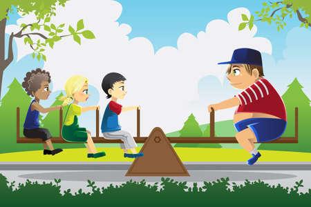 Een illustratie van een groot kind spelen zie zag met drie kleine kinderen, kan worden gebruikt voor het evenwicht begrip Vector Illustratie