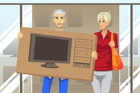 A illustration of a mature couple buying a big screen television Ilustração