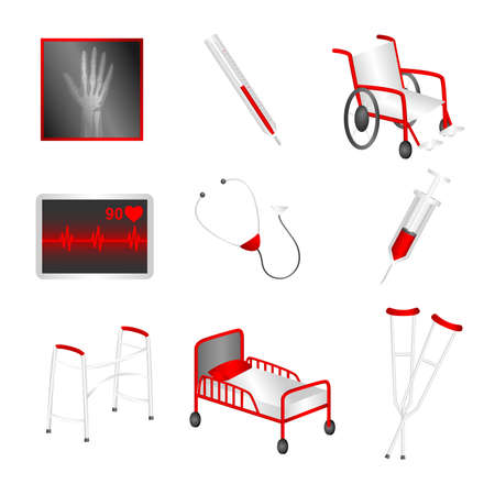 A illustration of a set of medical icons Vector