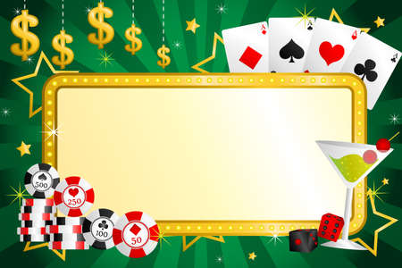 A illustration of gambling background with poker chips and cards Ilustracja