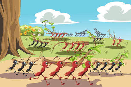 A illustration of a colony of ants working together, can be used for teamwork concept