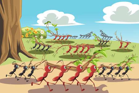 wooden work: Un'illustrazione di una colonia di formiche che lavorano insieme, pu� essere utilizzato per il concetto di lavoro di squadra