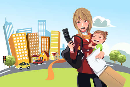 A illustration of a busy woman calling on the phone and carrying her crying baby Vector