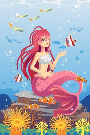 delfin: Ilustracja z mermaid w oceanie otoczony ryb