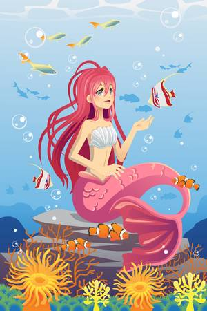 A illustration of a mermaid in the ocean surrounded by fish