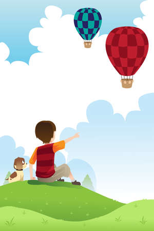 A illustration of a boy and his dog watching hot air balloons Vector