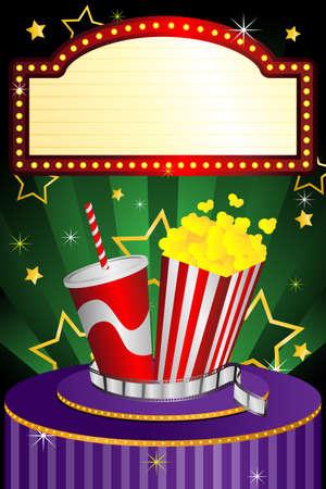 Een illustratie van een bioscoop achtergrond Stock Illustratie