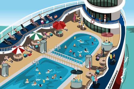 Een vector illustratie van mensen met een goede tijd op hun cruise vakantie Stock Illustratie