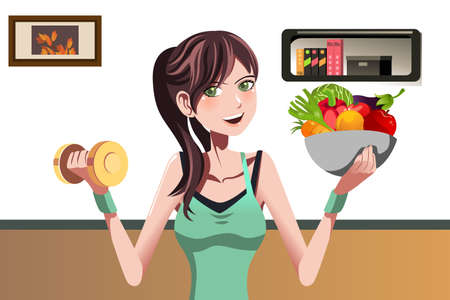 A vector illustration of a beautiful girl holding a dumbbell and a bowl of food