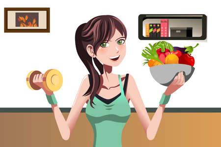 woman eat: Una ilustraci�n vectorial de una hermosa chica con una mancuerna y un plato de comida Vectores