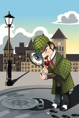 explore: A vector illustration of a man exploring a manhole with a magnifying glass Illustration