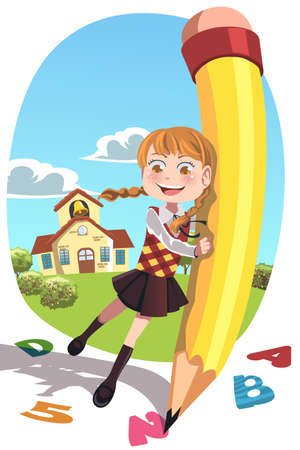 A vector illustration of a happy school girl holding a pencil writing letters and numbers Ilustracja
