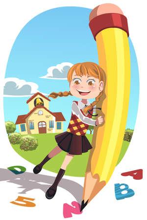Een vector illustratie van een gelukkig school meisje met een potlood schrijven letters en cijfers Stockfoto - 14951073
