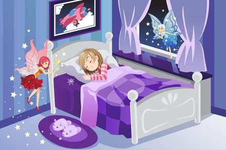 dientes caricatura: Una ilustraci�n vectorial de un hada de los dientes visitar a una chica durmiendo Vectores