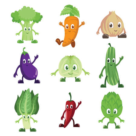 artichoke: A vector illustration of a set of vegetables characters