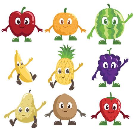 Een vector illustratie van een reeks van fruit tekens