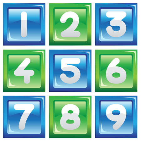 A vector illustration of a set of numbers icons