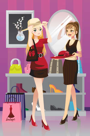 A illustration of two girls shopping Vector