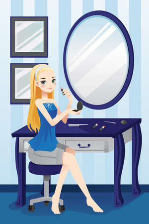 apply: A illustration of a beautiful girl applying makeup in her room