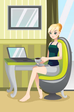 A illustration of a woman using a laptop and drinking a coffee at home Ilustração