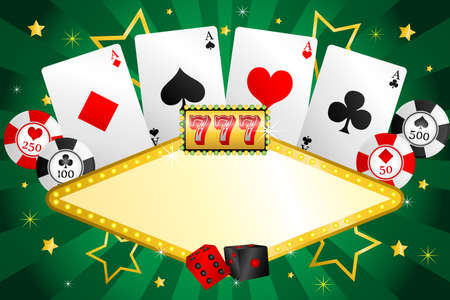 A illustration of gambling background with poker chips and cards Vector