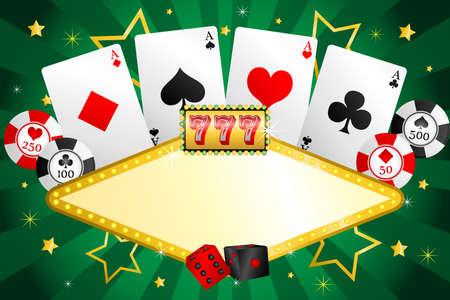 fichas casino: Una ilustración de fondo de juego con fichas de póquer y las tarjetas