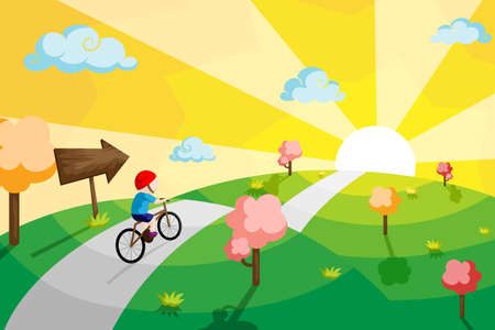 A illustration of a kid riding a bicycle in a countryside Vector