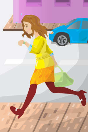 late: A illustration of a businesswoman late for work, looking at her watch Illustration