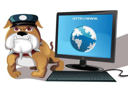 monitoreo: Una ilustraci�n de Internet o el concepto de seguridad inform�tica