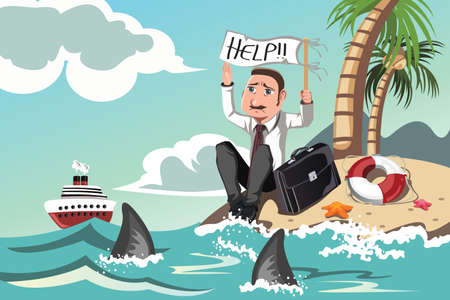 business help: A illustration of a businessman stranded in an island asking for help Illustration