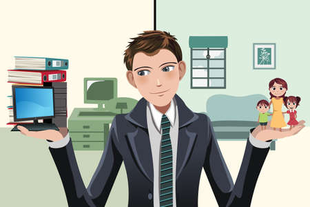 A illustration of a businessman having to decide between work and family