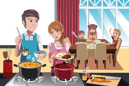 Een illustratie van de familie zich klaar voor het diner