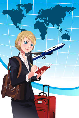 A illustration of a businesswoman making a travel arrangement