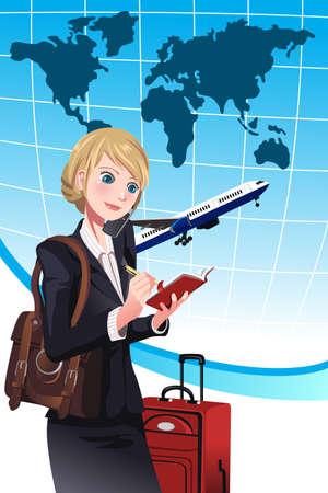 persona viajando: Una ilustración de una mujer de negocios haciendo una organización de viajes