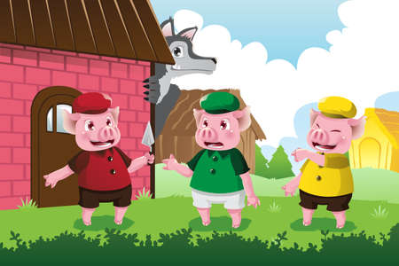 children story: A illustration of a wolf and three little pigs