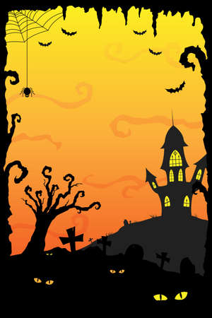 spooky tree: A illustration of Halloween holiday background