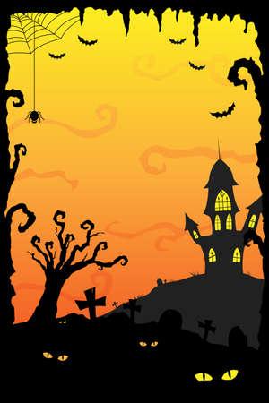 horror castle: Una ilustraci�n de fondo fiesta de Halloween Vectores