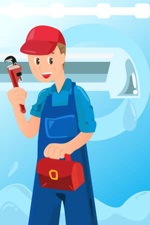 plumbing repair: A vector illustration of a plumber holding a wrench