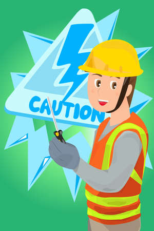 A vector illustration of an electrician holding a screwdriver