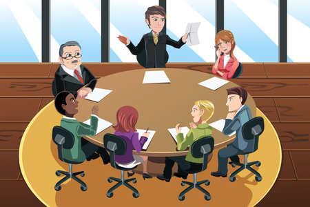 Een vector illustratie van een bedrijf mensen in een bijeenkomst in het kantoor Stock Illustratie