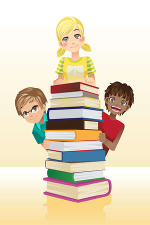 student with books: A vector illustration of students and books, can be used for children education concept