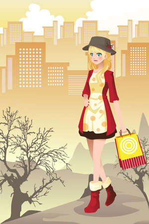 young girl: A vector illustration of a beautiful girl shopping in the city