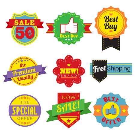 promo: Una illustrazione vettoriale di etichette di vendita o etichette Vettoriali
