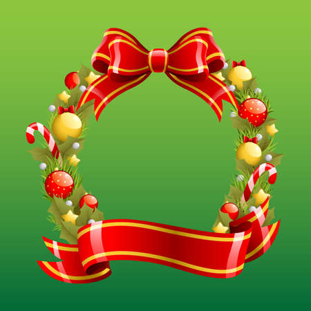 A vector illustration of a Christmas wreath Stock Vector - 15167798