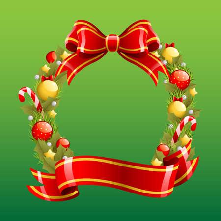 A vector illustration of a Christmas wreath