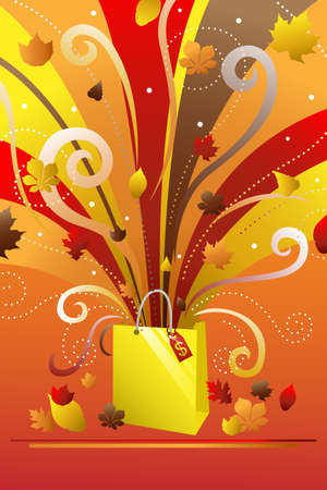 A vector illustration of a colorful shopping bag with autumn background
