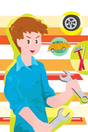 fixing: A illustration of a car mechanic  Illustration