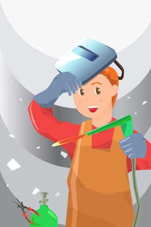 A illustration of a working welder Stock Illustratie