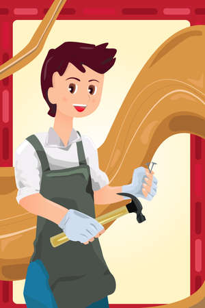 A illustration of a working carpenter Vector