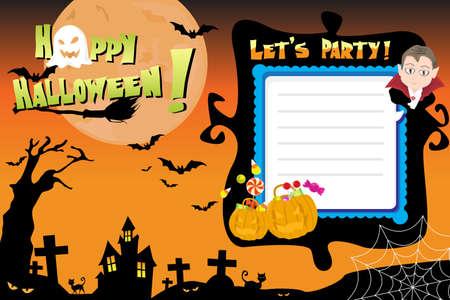 halloween background: A illustration of Halloween invitation flyer